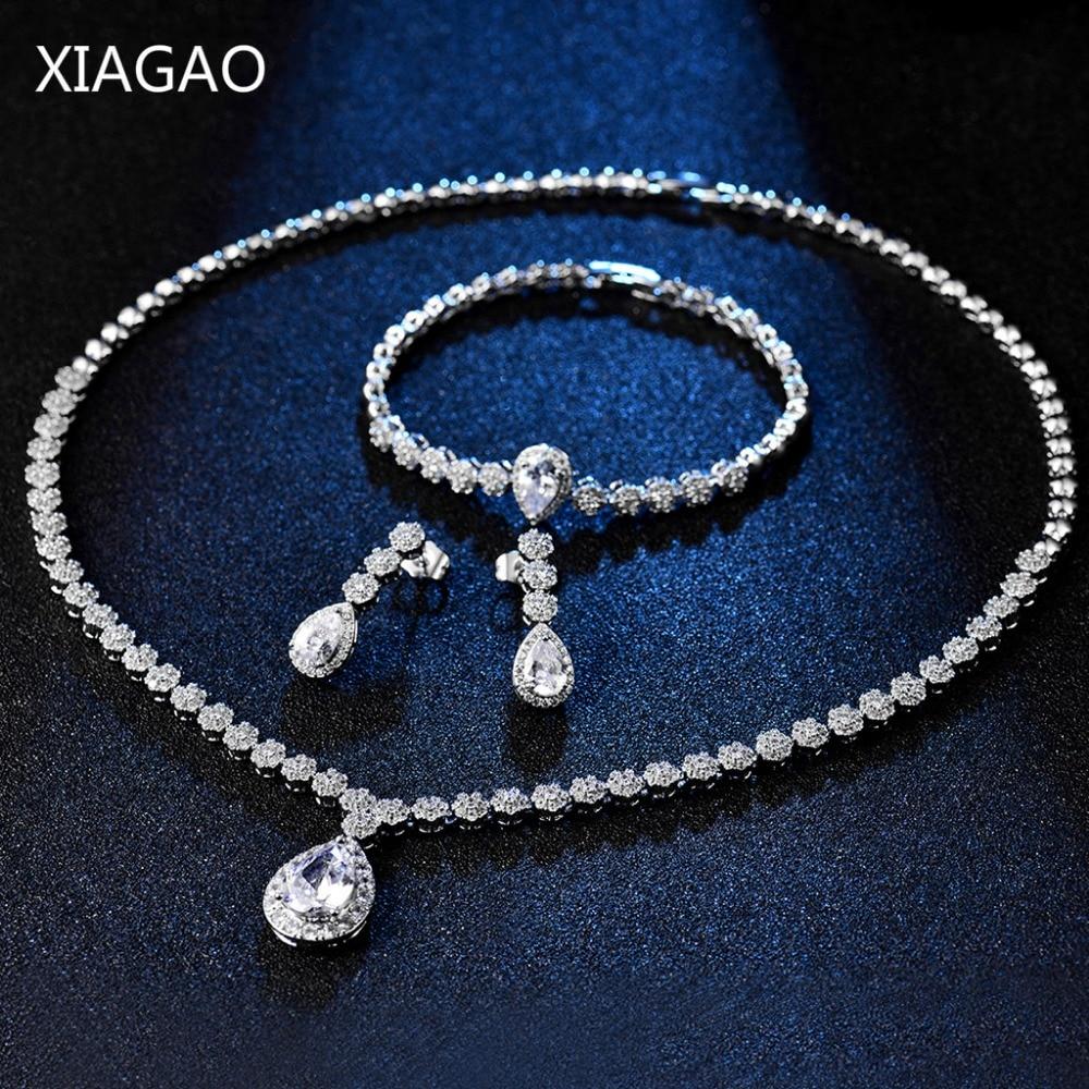 XIAGAO luxe décorations de mariage Dubai bijoux ensemble boucles d'oreilles collier Bracelet pour femmes mariée strass grand cubique zircone