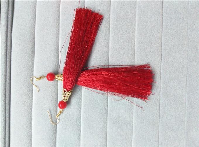 ⑤À la mode longue rouge gland boucles d oreilles charme femmes ... b7f8459b8e9e