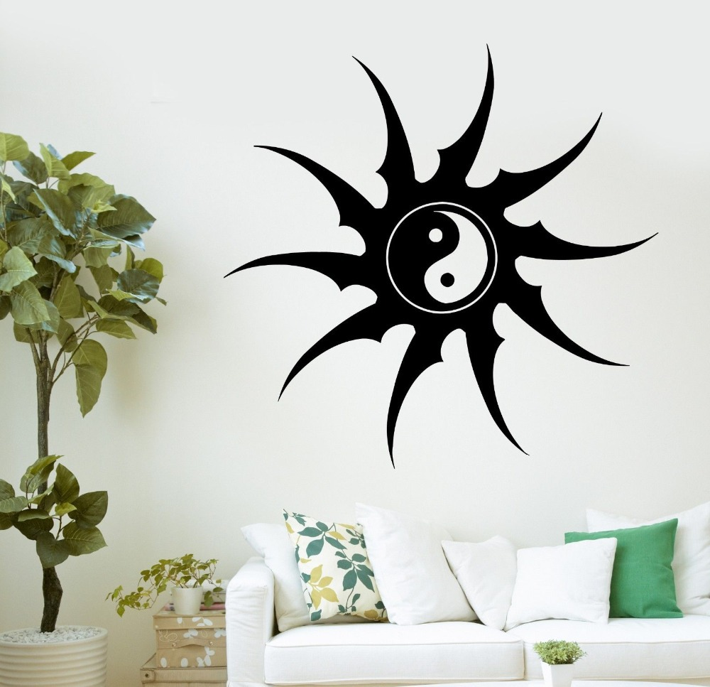 2015 new arrival religion vinyl decal buddha yin yang zen for Decoration murale yin yang