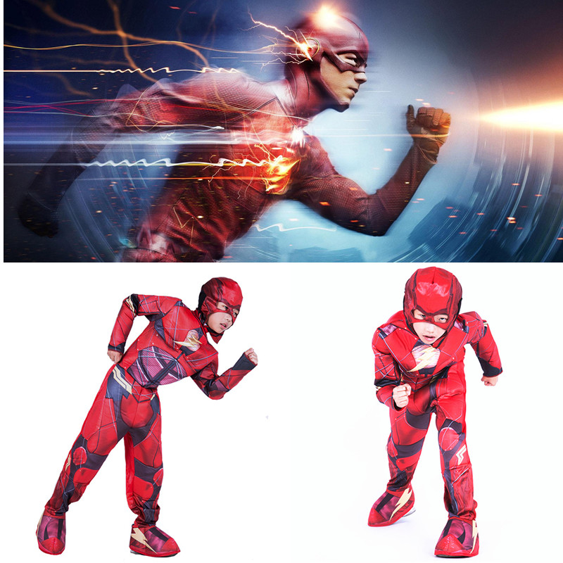 S L Boys The Flash Cosplays Kids Children Halloween Justice League Movie Costume stage play Carnival Purim Christmas Party dress