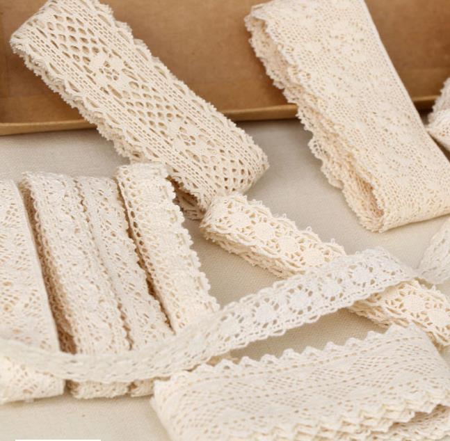 30 Yard Diy  Handmade Patchwork Cotton Material Cotton Lace Ribbon Beige Color Cotton Lace TRIM Crochet Lace