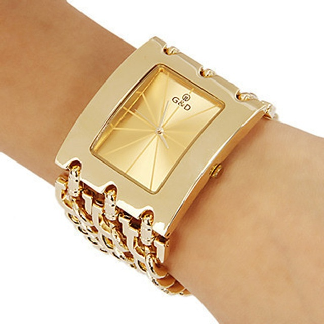 Brand New 2017 Stainless steel Chain fashion gold watch women wristwatches quart