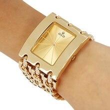 Brand New 2017 stal nierdzewna stalowy łańcuch moda złoty zegarek kobiety zegarki kwarcowe zegarki na rękę