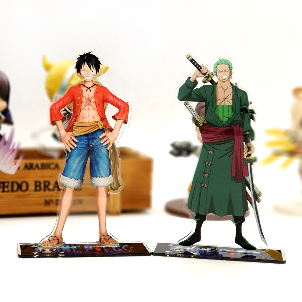 Love Thank You One Piece Luffy Zoro acrylic stand figure model double-side plate holder cake topper anime japanese cool toy