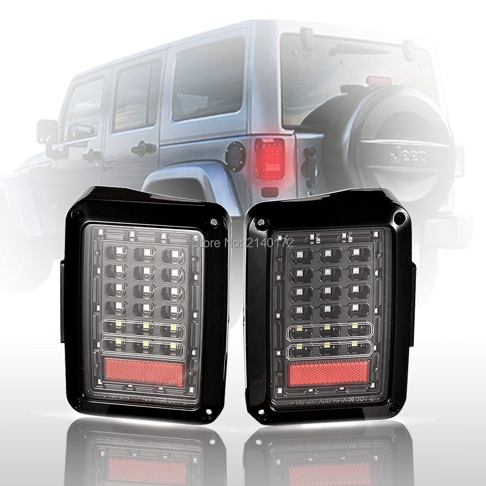 pair 12v LED Tail Lights for 07-15 Jeep Wrangler jk OffRoad 4x4 Taillight Brake Reverse light Turn Singal Lamp 6 x 8 flat mount led tail light plug play replacement for jeep wrangler jk