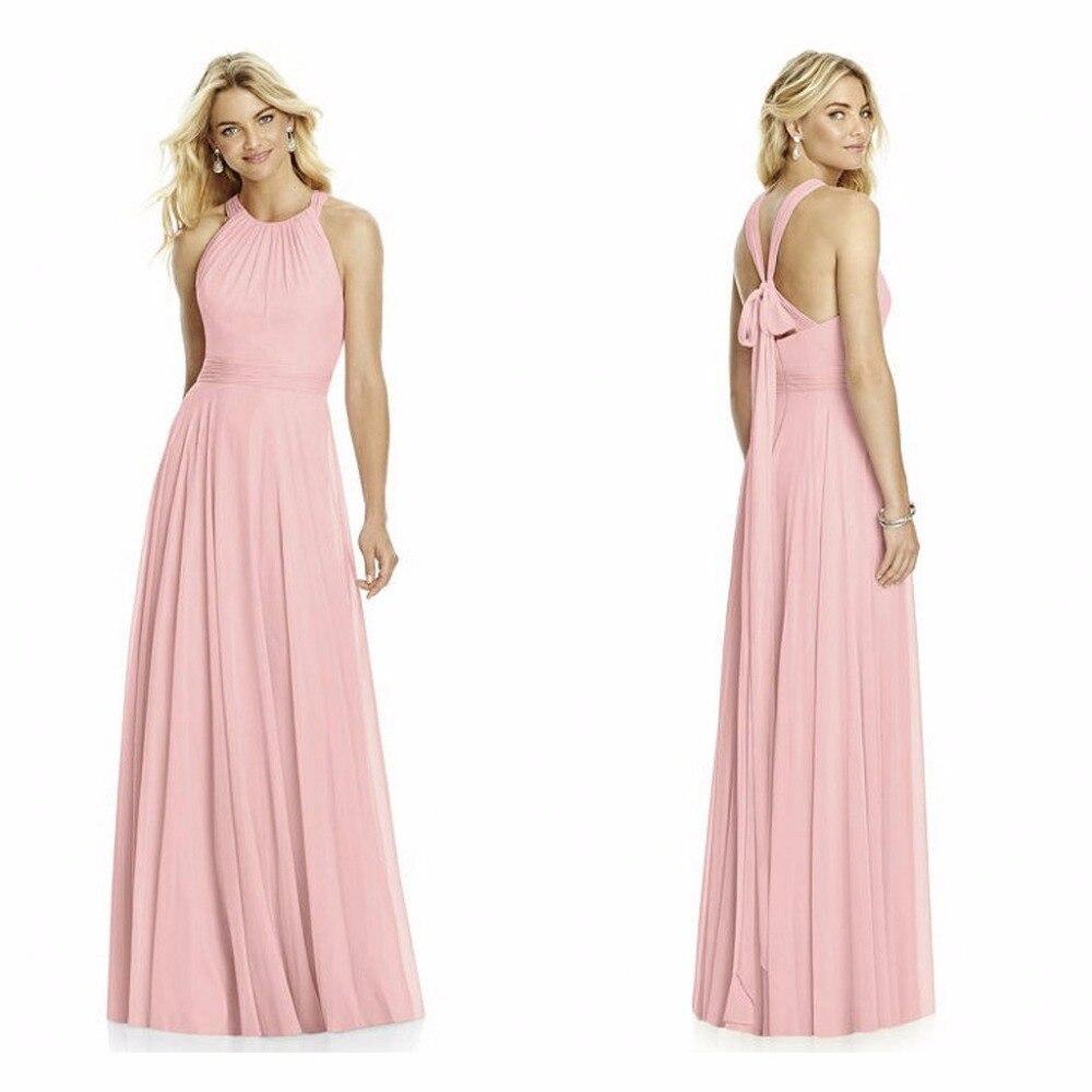 Baratos Gasa rosa vestidos de dama de honor halter simple dama de ...