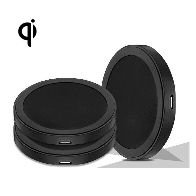 2015 Black Round Qi Wireless Charger Charging Pad For Samsung Note 4 S3 S4 S5 Lumia 920 Sony Z3 Nexus 4 5