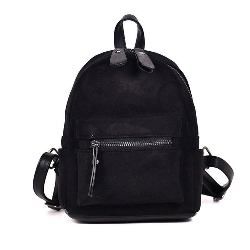 Women Mini Bags Backpack Girl School Shoulder Bag Rucksack Suede Travel Daypack