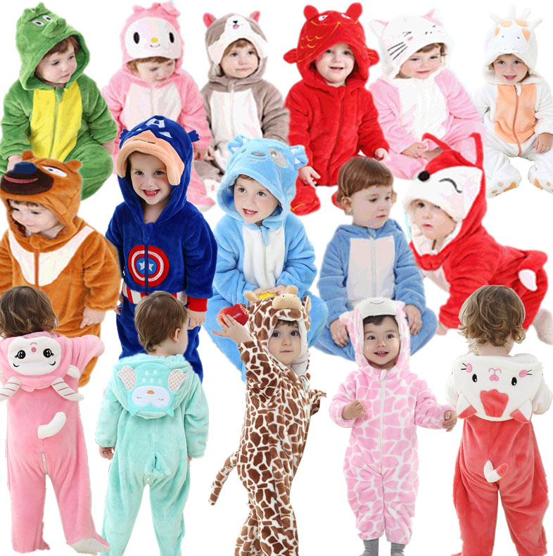 2015 Hot New Spring Autumn Baby Clothes Cotton Flannel Baby Clothing 3D Cartoon Animal Rompers Baby Boys Girls Jumpsuit