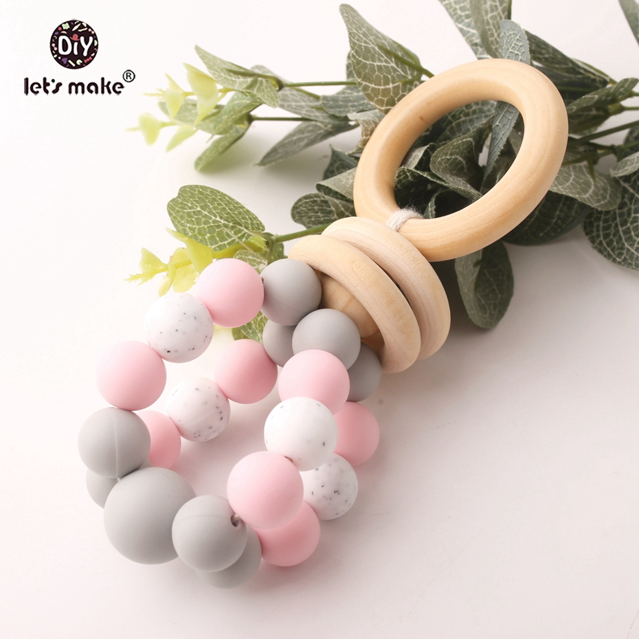 Let's Make Baby Toys Food Grade Silicone Beads Gym Wood Rings Nursing Gifts Diy Hand Catenary BPA Free Baby Birth Gift Toys