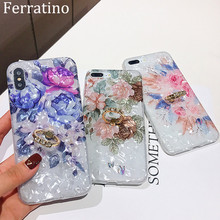 Flower Printed Shell Finger Ring Stand Phone Case For iPhone X XR XS Max Soft TPU Cover For iPhone 7 8 Plus 6 6s Gli Case Coque flower printed shell finger ring stand phone case for iphone x xr xs max soft tpu cover for iphone 7 8 plus 6 6s gli case coque