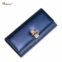 Nucelle Brand New Design Fashion Rhinestones Lock PU Leather Fold Women Lady Long Wallet Coin Purse Cards Phone Holder