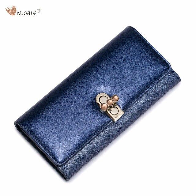 7516e9a0d Nucelle nuevo diseño rhinestones moda lock pu fold mujeres señora long cartera  de tarjetas monedero de