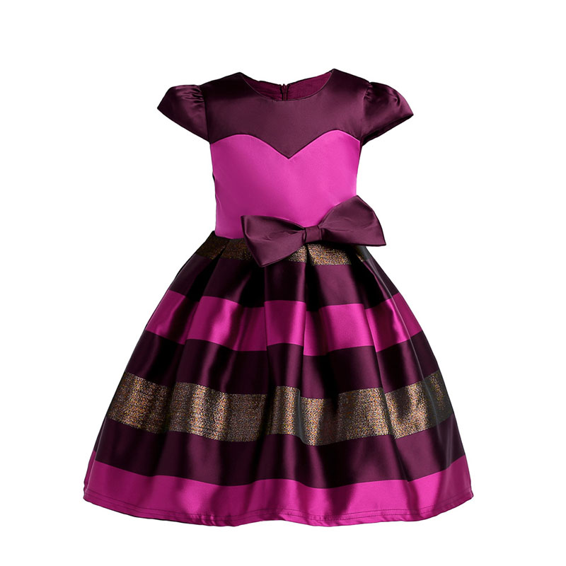 2018 Summer Bow Girls Striped Princess Dress Cute Kids Baby Party Dresses Children Wedding Dresses Clothes For 3 4 5 6 7 9 Years populous baby kids girls clothes princess black short fashion summer cool solid partytulle dresses 2 3 4 5 6 7 years