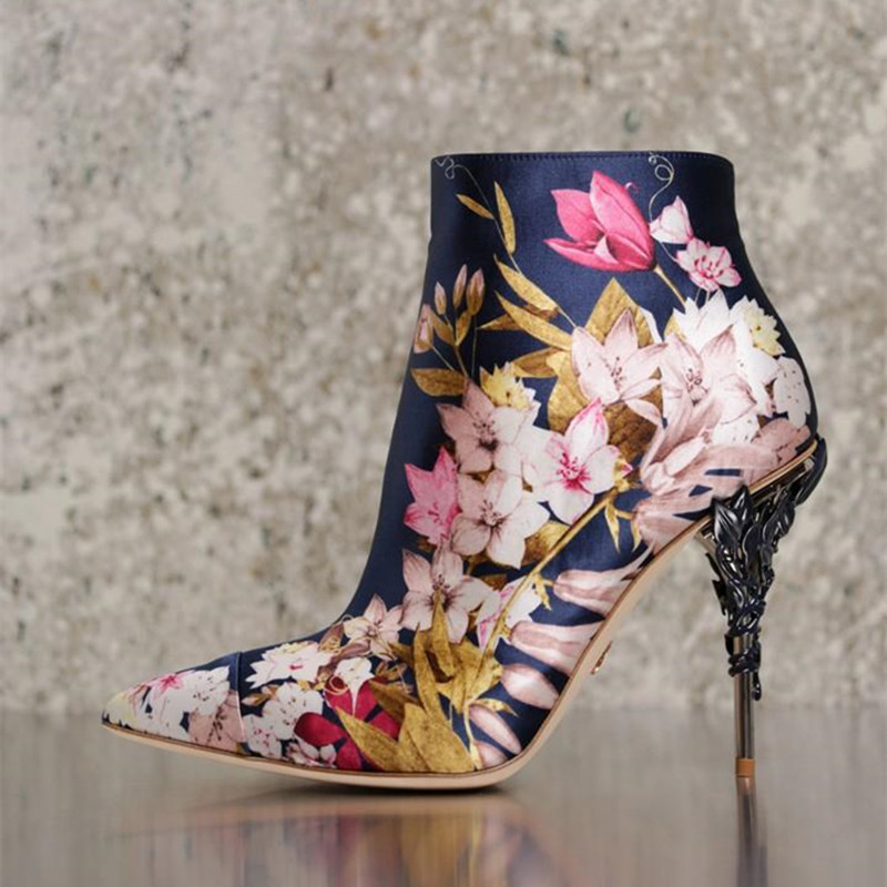Fashion Brand High brand Women Ankle Boots Pink Satin Print Rose Gold Leaves Stiletto Sexy Ladies Pumps Catwalk Celebrity Botas