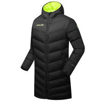 Wholesale Kelme K090 Men Long Hooded Winter Keep Warm Coat Training Sport Football Down Jacket Black