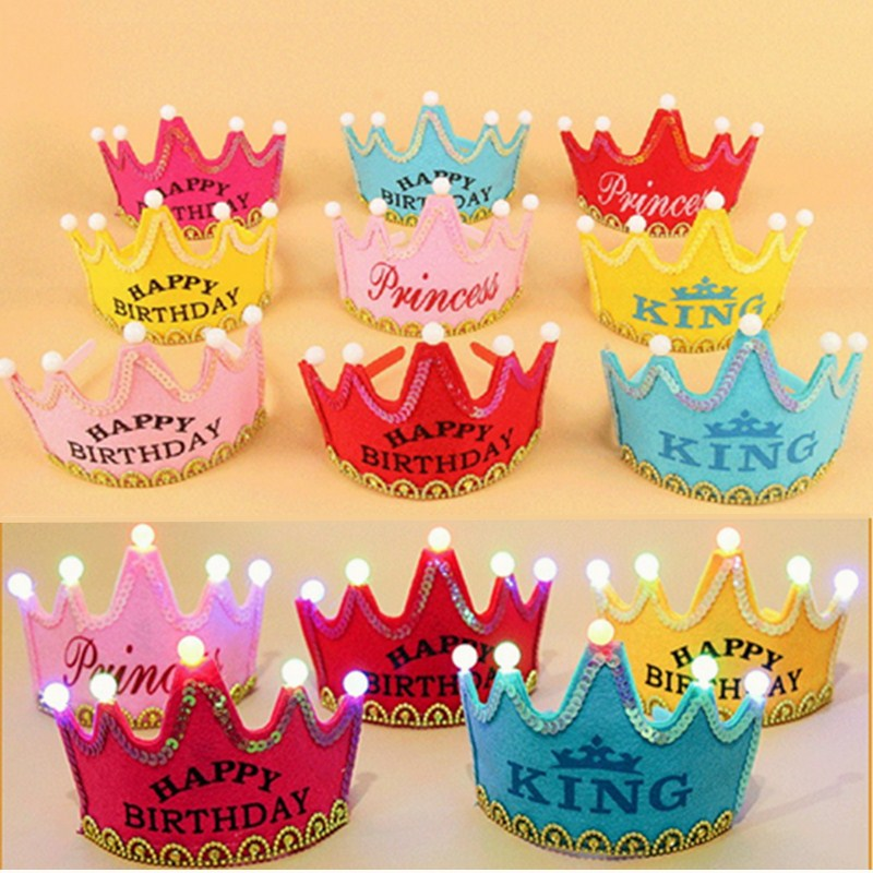 Lighting Party Hat Adult Kids Happy Birthday Crown Festival Decorative Light Up Flashing Cap King Princess Gift Multi Color In Hats From Home