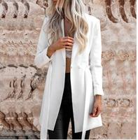 2018Solid White Color Belt Blazer Notched Ladies Long Sleeve Suit Blazer Elegant Office Women Autumn Blazer