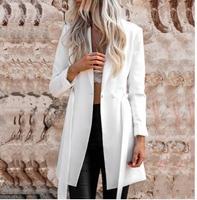 2018Solid White Color Belt Blazer Notched Ladies Long Sleeve Suit Blazer Elegant Office Women Autumn Blazer