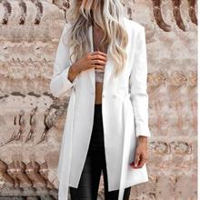 2019 white blazer women Autumn Belt Blazer Notched Ladies Lo