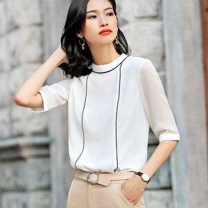 Image 2 - 高品質ファッション夏の女性のシャツ2019新五分袖ルーズシフォンブラウスol気質オフィス女性のプラスサイズは