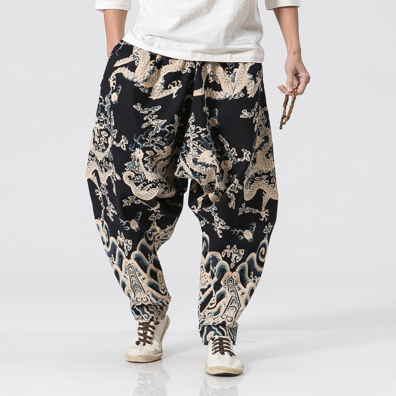 New Dragon Printing Harem Pants Men Chinese Style Casual Loose Cotton Linen Sweatpants Jogger Pants Mens Streetwear Trousers