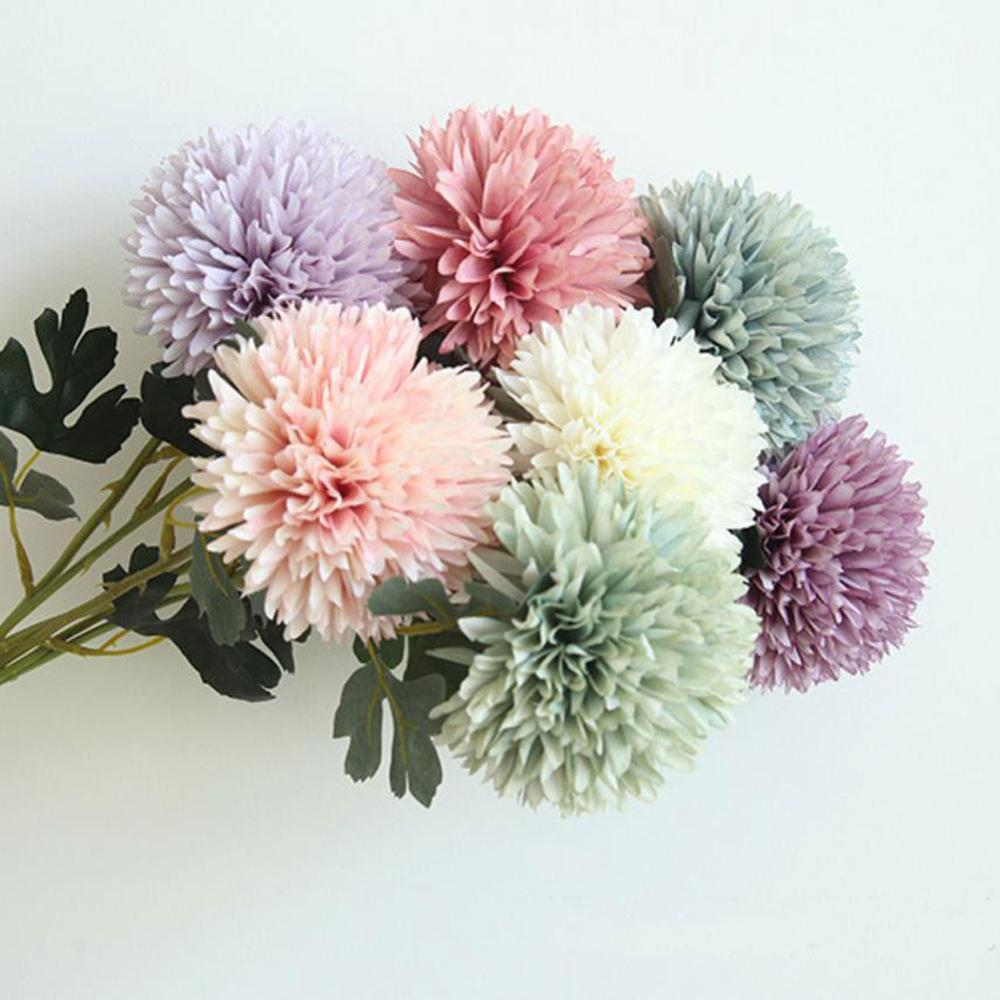 Dandelion Flower Ball Diy Artificial Silk Home Bedroom Table Decoration Fake Flower Wedding Hand Hold Flower Birthday Gift 1pcs