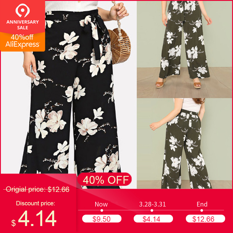 2019 Women ladies boho   wide     leg     pants   Sexy High Waist Flower Print Floral   Wide     Leg     Pants   newest style hot sale clothes summer