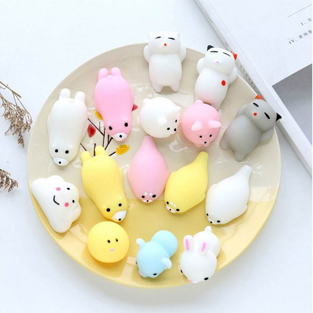 Colorful Kawaii Squishy Stress Relief Animal Antistress Cute Cat Seal Pig Squeeze Mochi Rising Toys Soft Sticky Funny Toys Doll