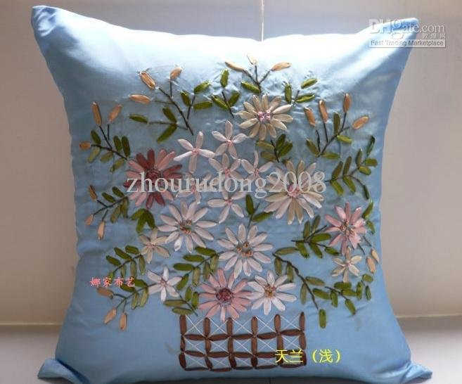 Light Sky Blue Ribbon Embroidery Pillow Cushion Cover Hand