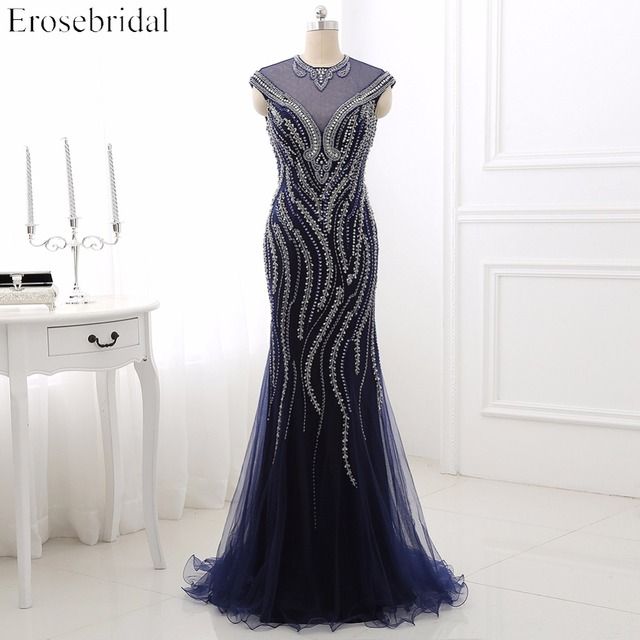 Elegant Beading Evening Dress Erosebridal Mermaid 2018 Robe De Soiree Illusion Bodice Zipper Back Vestido De Festa ZLR003