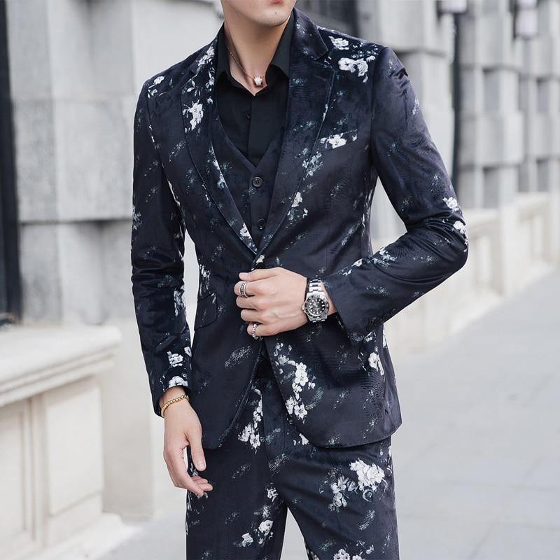 Imprimé Fit Homme Colour D'affaires La Floral Flower Costumes 5xl Taille Plus 2018 Mariage Costume Slim Smoking Fumer Hommes Smokings 4Oq6C6
