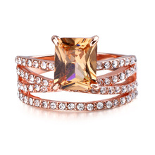 1pcs Shining Champagne Morganite Crystal Multilayer Finger Ring Jewelry Rings for Women Girls