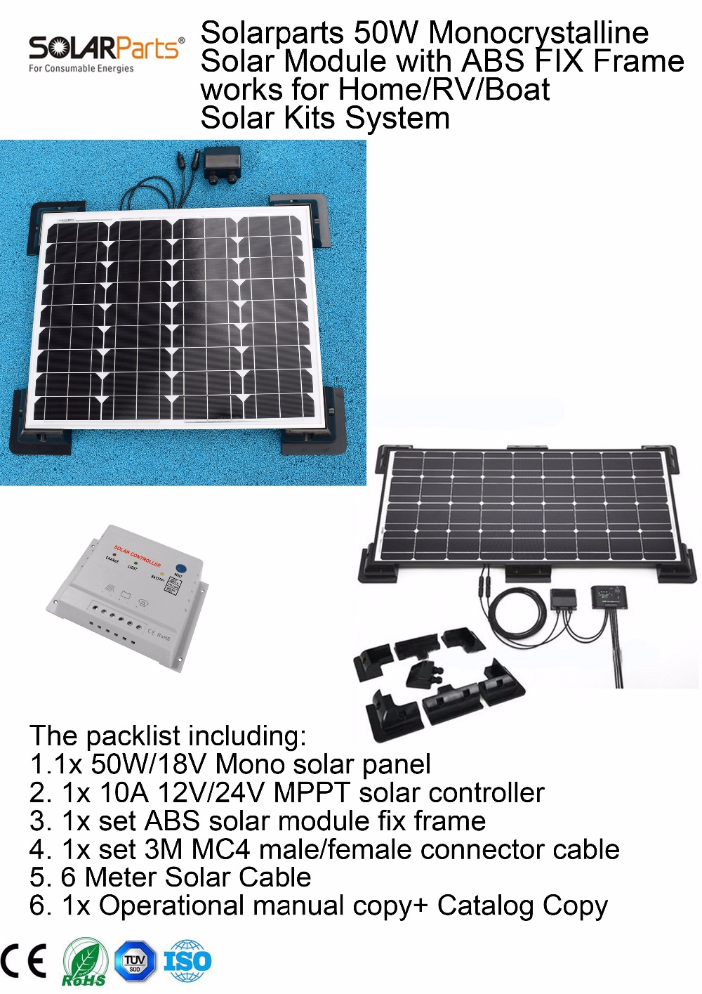 Solarparts 1x 50w monocrystalline solar module by abs fix for Affordable solar frames