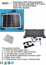 Solarparts 1x 50W Monocrystalline Solar Module by ABS fix frame solar cell factory cheap selling 12V