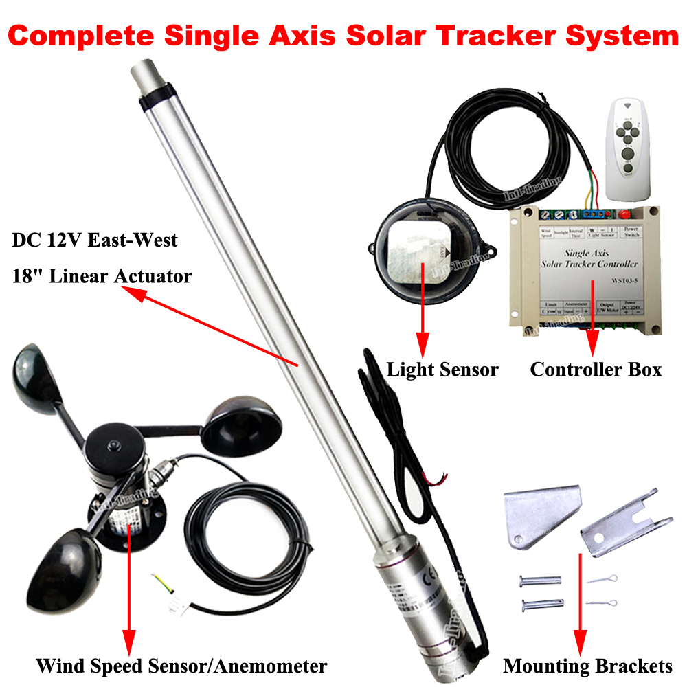 1kw Single Axis Solar Panel Tracker W 18 Dc Motor Linear Actuator Controller Wind Spd Sensor Anemometer Fit For Tracking System In From Home