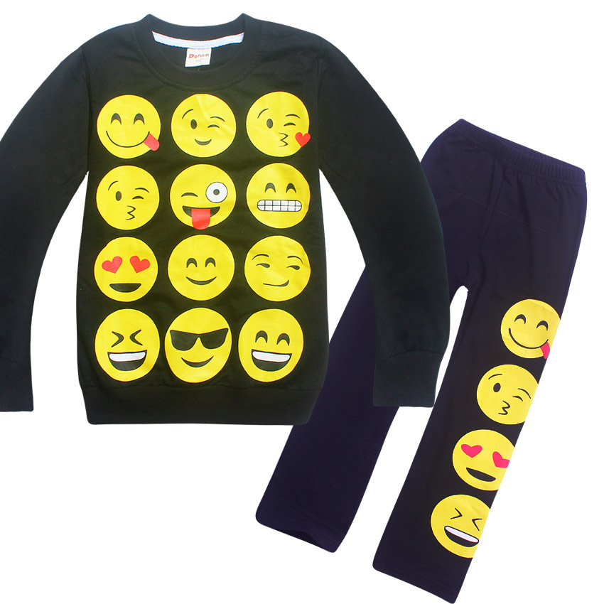 Kids EMOJI EMOTICONS SMILEY FACES pajamas sets cartoon baby Sleepwear Boys Girls pijamas Children's long sleeve t shirts Clothes