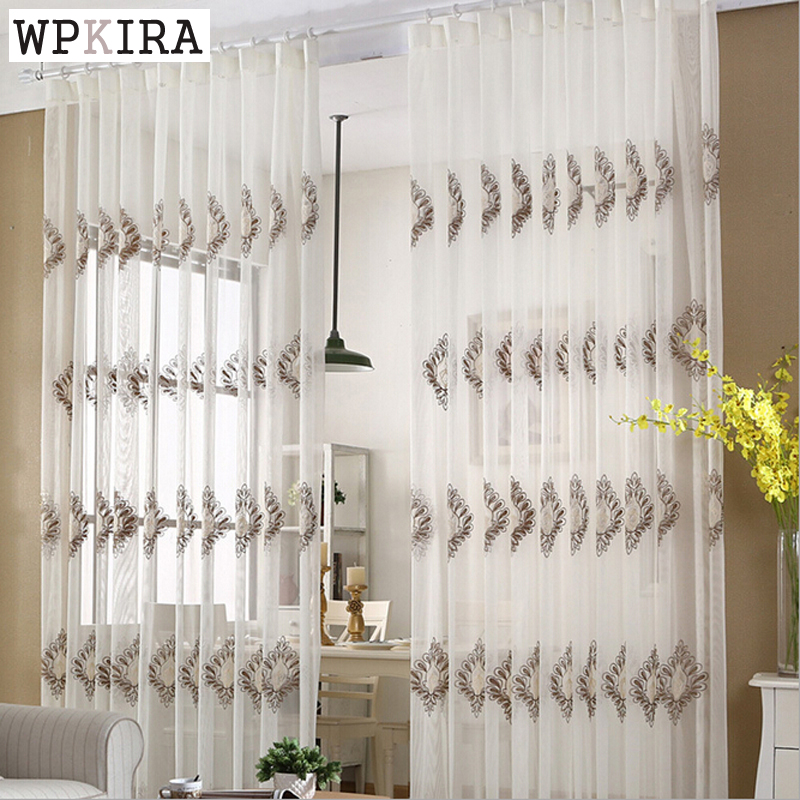 Luxury Embroidery Yarn White Curtains Bedroom Curtain Fabric Living Room  Window Curtain Elegant Living Room Curtains