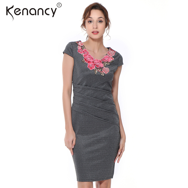 Kenancy 3XL Plus Size Embroidered Summer Dress Women Pleated Wasit V Neck  Short Sleeve Knee-Length Vestidos Bodycon 2 Colors 49ece5dc2