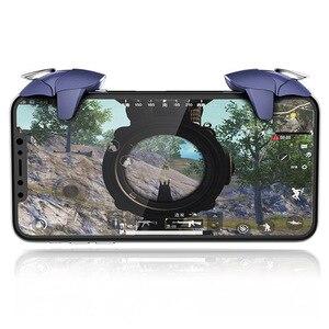 Image 3 - Azul shark design pubg telefone inteligente móvel gaming trigger pubg controlador móvel fogo/aim botão l1 r1 shooter joystick gamepad