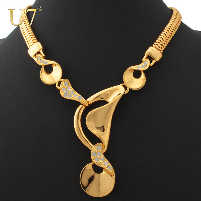 U7 African Necklace Women Gold Color Fashion Jewelry Wholesale Trendy Big Size Choker Necklaces Dubai Jewelry N335