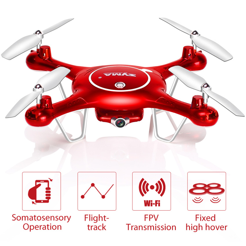 SYMA  X5UW Drone With WiFi Camera HD 720P Real-time Transmission FPV Quadcopter 2.4G 4CH RC Helicopter Dron Quadrocop Model Toys 2016 syma x5hw 2 4g 4ch fpv drone with camera hd wifi real time transmission aerial quadcopter 3d roll vs syma x8c fast shipping