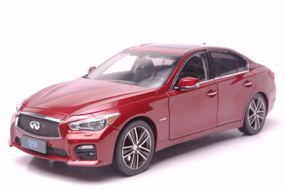 1:18 Diecast Model for Infiniti Q50 2014 Red Sedan Alloy Toy Car Miniature Collection Gift black 1 18 infiniti q70 q70l 2014 diecast model cars hot selling alloy scale models limited edition