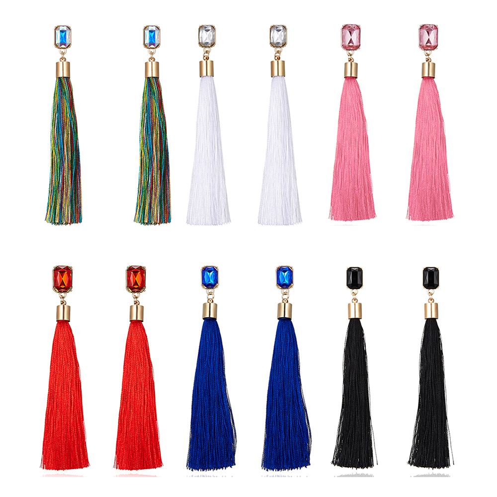 6 Colors Bohemian Geometric Crystal Tassel Earrings Silk Fabric Long Drop Dangle Tassel Earrings For Women Jewelry Accessories