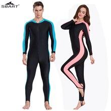 SBART UPF 50 + likra dalış giysisi anti UV tek parça döküntü bekçi uzun kollu mayo sörf kıyafeti erkekler kadınlar güneş koruyucu