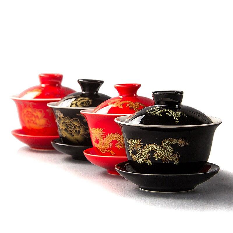 80 мл красный чайник, керамика, Gai Wan, китайский чайный чайник, кунг-фу, чайные сервизы, чашки, фарфоровый чайник для свадьбы, банкета, красивые ...