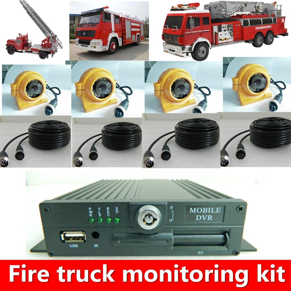 HYFMDVR ville feu camion vidéo surveillance terminal 4 canal AHD720P HD SD carte de voiture disque dur enregistreur source usine