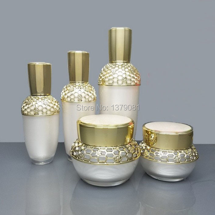 High Quality Pearl White Acrylic Cream Jar Gold Cap Empty Cosmetic Container Jar Lotion Pump Bottle 30g 50g 30ml 50ml,120ml high quality 5g 10g 30g acrylic cream jar purple pink color empty cosmetic packing container goblet shape sample tins