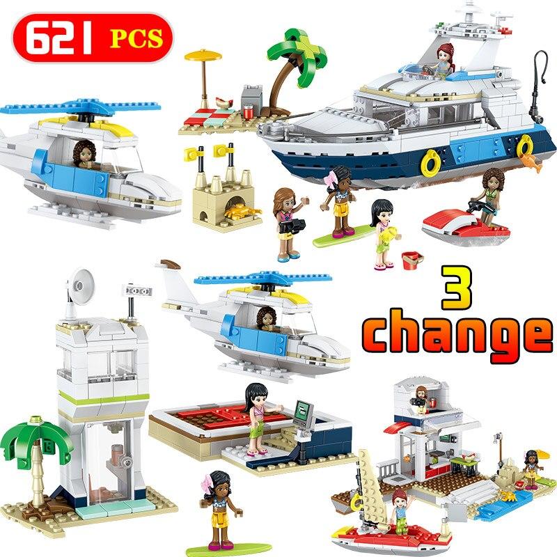 Creators Bricks Compatible LegoINGLY Technology 31083 Luxury Yacht Cruising Adventures Ship Building Blocks Model Education Toy цена
