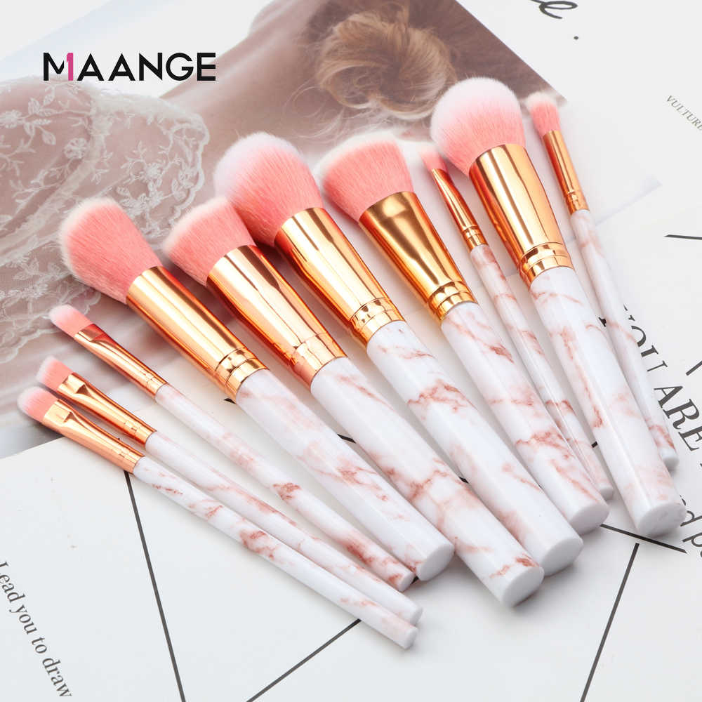 Maange Pro 10 Pcs Profesional Makeup Brush Set Alat Bubuk Foundation Eyeshadow Bibir Eyeliner Blush Marmer Wajah Makeup Brushes